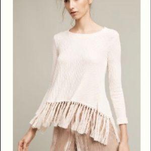 Eri & Ali Ivory Tasseled Malla Pullover Sweater